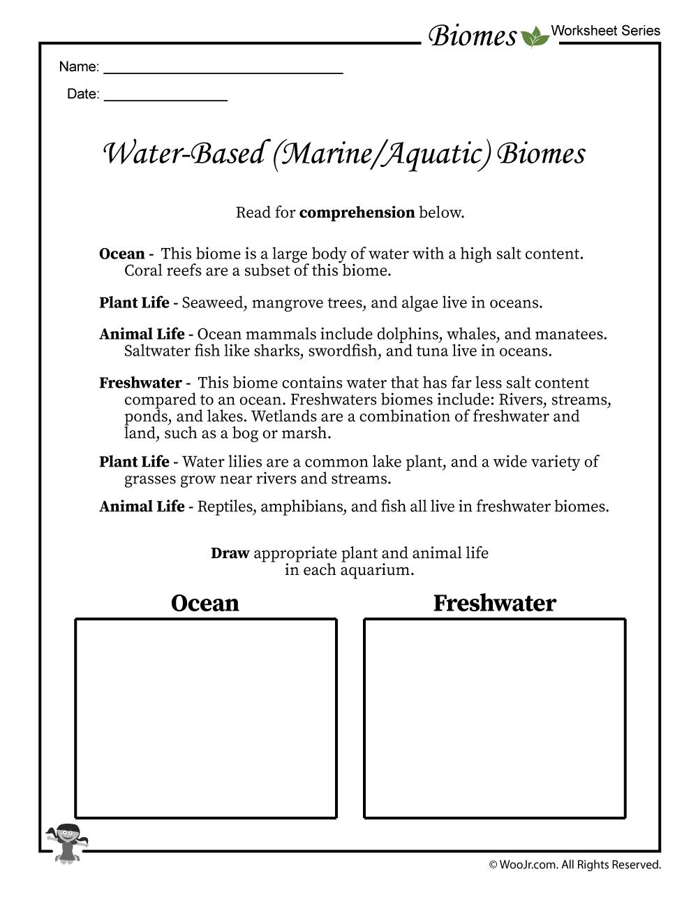 Oceans and Freshwater Biomes Worksheet | Woo! Jr. Kids ...