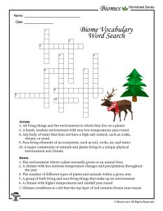 Biomes Vocabulary Crossword Puzzle Worksheet