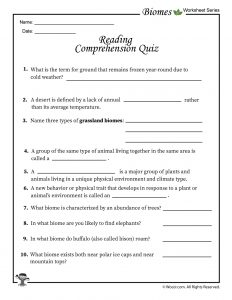 Biomes Reading Comprehension Quiz