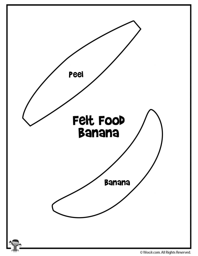 picture about Banana Template Printable known as Banana Felt Foodstuff Guideline Practice Woo! Jr. Little ones Functions
