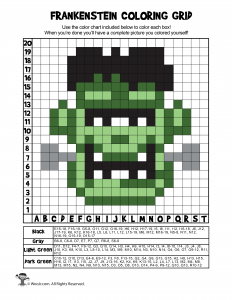 Frankenstein Printable Grid Coloring - ANSWERS