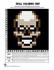 Skeleton Skull Grid Coloring Worksheet - ANSWERS