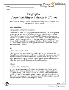 Hispanic Heritage Month Biographies Part 1