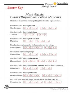 Famous Hispanic and Latino Musicians Word Puzzle Worksheet - ANSWERS