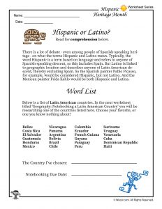 Hispanic or Latino Definition Printable