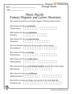 Famous Hispanic and Latino Musicians Word Puzzle Worksheet
