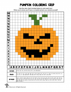Halloween Pumpkin Mystery Coloring Page - ANSWERS