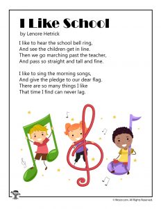 I Like School Printable Poem