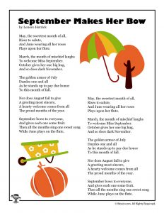 September Makes Her Bow Poetry for Children