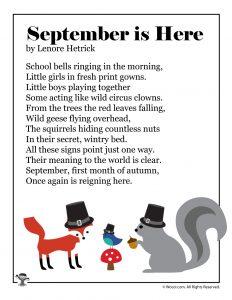 September is Here Printable Kids Poem