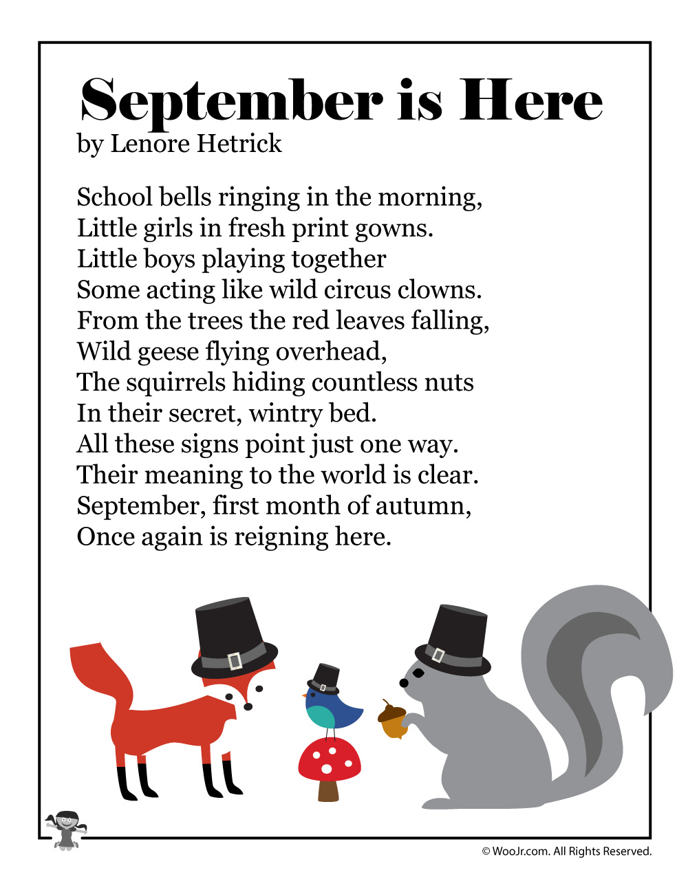 September is Here Printable Kids Poem | Woo! Jr. Kids Activities