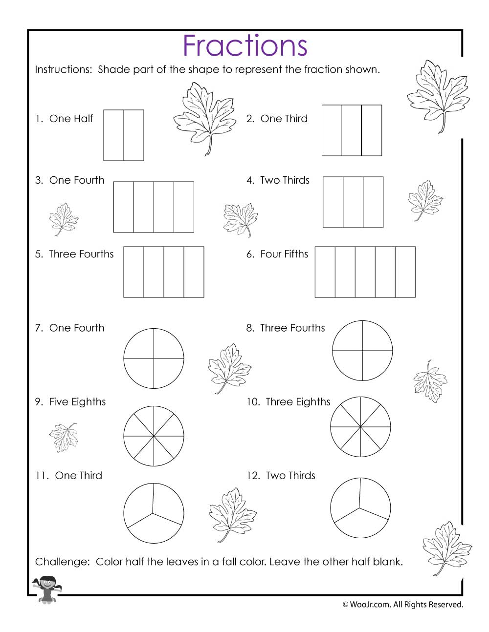 visual fractions worksheet woo jr kids activities. Black Bedroom Furniture Sets. Home Design Ideas