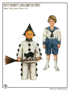 Pumpkin Boy in Costume Betty Bonnet Paper Doll