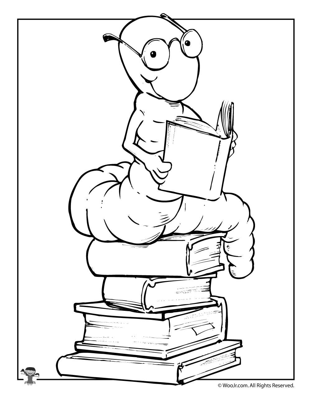 Reading Bookworm Coloring Page
