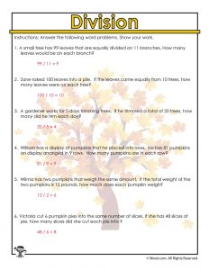 Fall Trees Division Math Worksheets Answer Key
