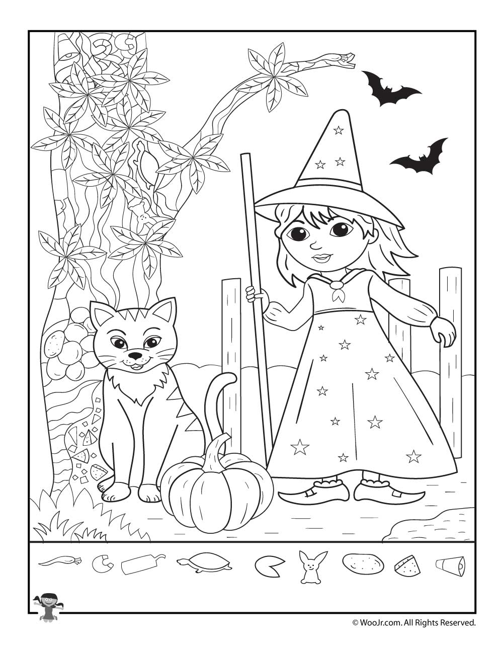 graphic relating to Halloween Hidden Pictures Printable known as Adorable Witch and Cat Concealed Imagine Printable Woo! Jr. Children