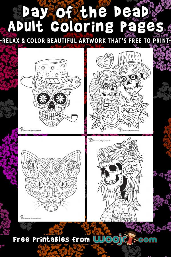 Printable Day of the Dead Adult Coloring Pages
