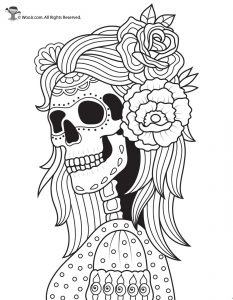 Skeleton and Roses Day of the Dead Coloring