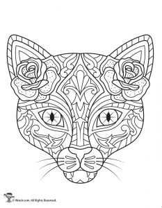 Day of the Dead Cat Adult Coloring Printable