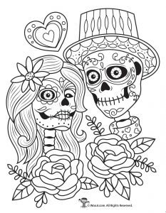 Day Of The Dead Adult Coloring Pages With Sugar Skulls Woo Jr