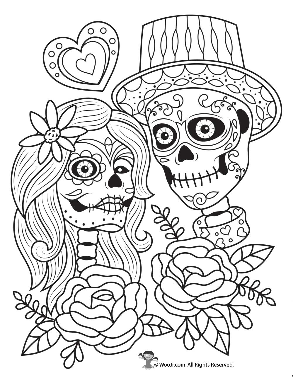 Day Of The Dead Couple Adult Coloring Free Woo Jr Kids