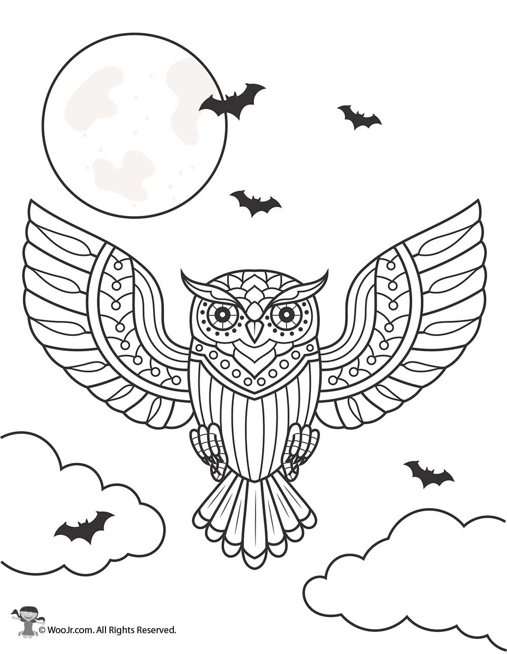 Day Of The Dead Owl Coloring Page Woo Jr Kids Activities