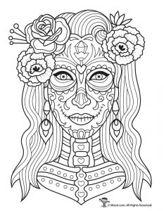 Day Of The Dead Adult Coloring Pages With Sugar Skulls
