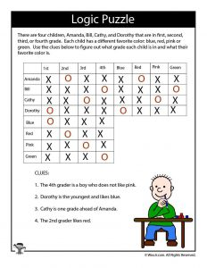 Hard Logic Puzzle for Kids - ANSWERS