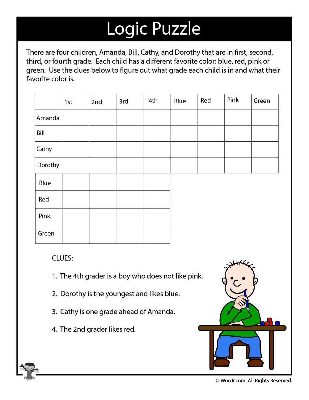 Slobbery image with regard to logic puzzles for kids printable