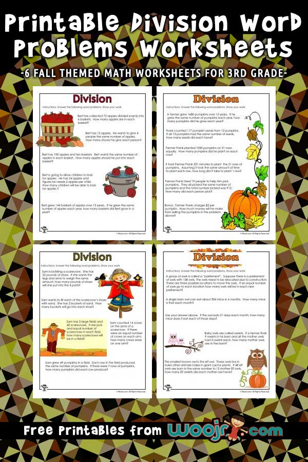 Printable Division Word Problems Worksheets