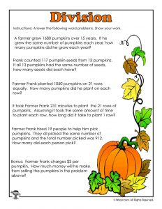Pumpkins Division Story Problems Worksheet