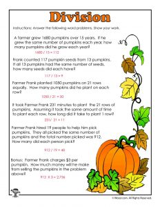 Pumpkins Division Story Problems Worksheet Answer Key