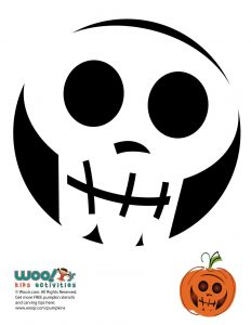 Simple and Easy Skull Pumpkin Stencil
