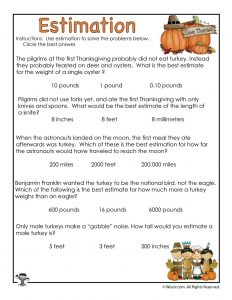 Thanksgiving Estimation Worksheet