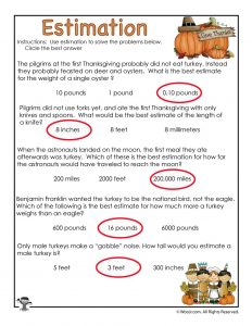Thanksgiving Estimation Worksheet - ANSWERS