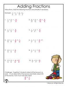 Fall Adding Fractions Worksheet - ANSWERS