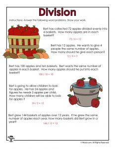 Fall Apples Division Practice Worksheets Answer Key