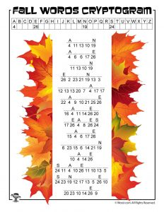 Fall Cryptogram Word Puzzle