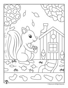 Cute Fall Squirrel Hidden Pictures Page