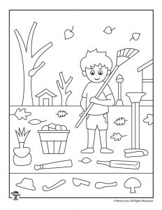 Fall Leaves Hidden Picture Activity Page