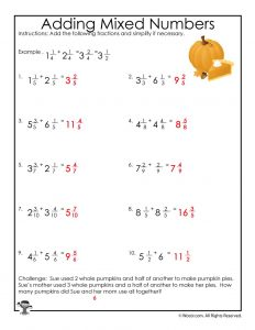 Adding Mixed Numbers Worksheet - ANSWERS