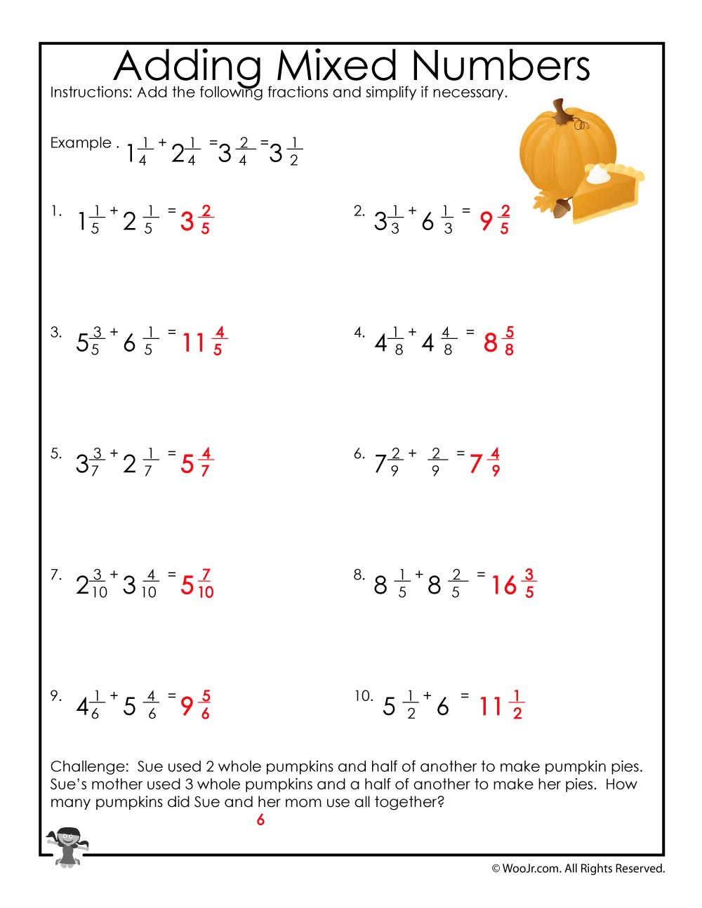 Adding Mixed Numbers Worksheet Answers Woo Jr Kids Activities