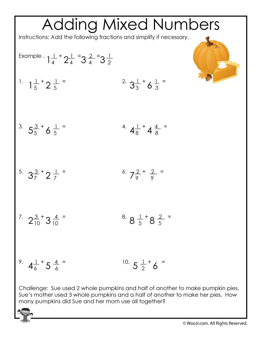 Adding Mixed Numbers Worksheet | Woo! Jr. Kids Activities