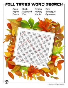 Fall Trees Word Search Answer Key