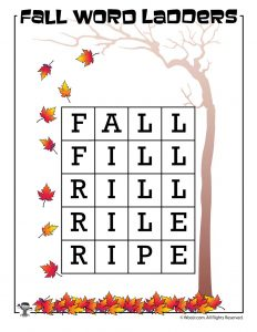 Fall to Ripe Word Ladder Answer Key