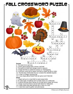 Fall Crossword Puzzle Printable Answer Key