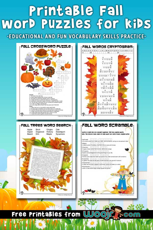 Printable Fall Word Puzzles For Kids Woo Jr Kids