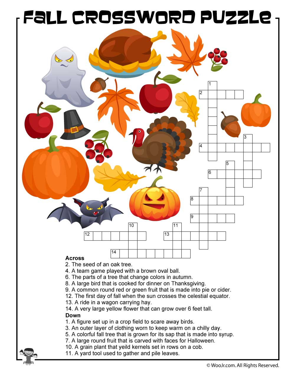 It is a graphic of Fall Crossword Puzzle Printable throughout free daily printable