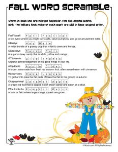 Fall Word Scramble Worksheet Answer Key