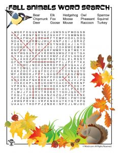 Fall Animals Word Search Answer Key